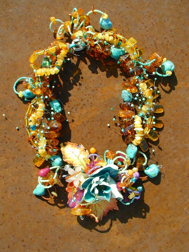 TURQOISE AMBER ,necklace,porcelain, painted leather, amber and various beads