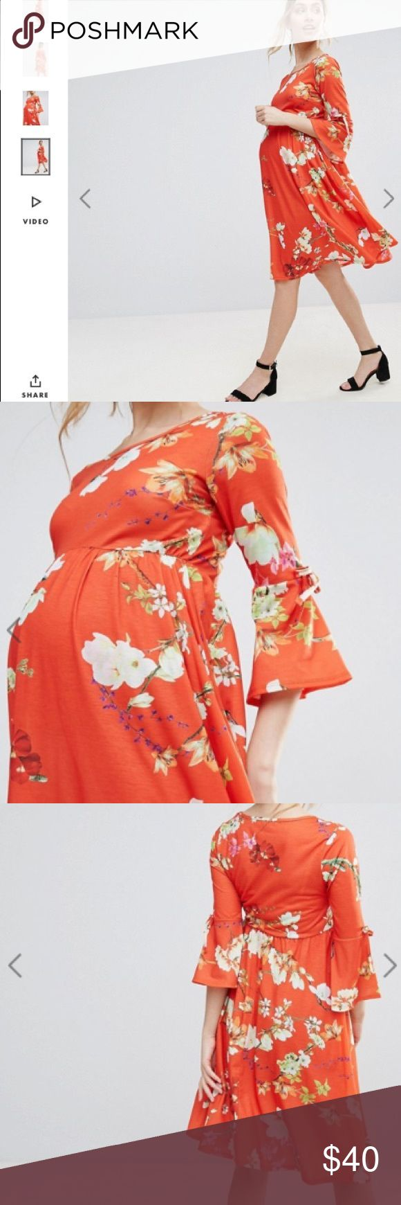 Sale 😍NWT ASOS maternity flower dress Beautiful dress with sleeves ! Originally sealed. Perfect fit. Please feel free to ask any questions 😍 ASOS Maternity Dresses