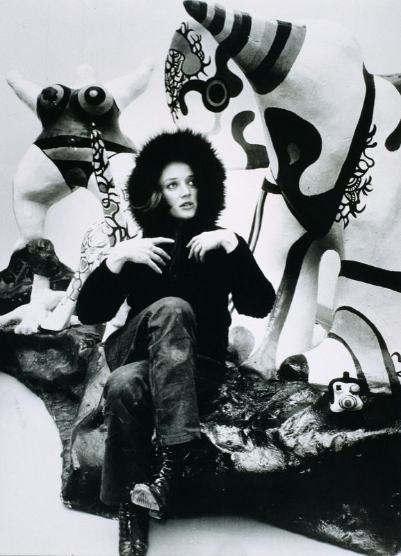 Most beautiful woman to ever make art with a shotgun: Niki de Saint Phalle, fashion model, painter, sculptor, wife of meta-matic sculptor Jean Tinguely