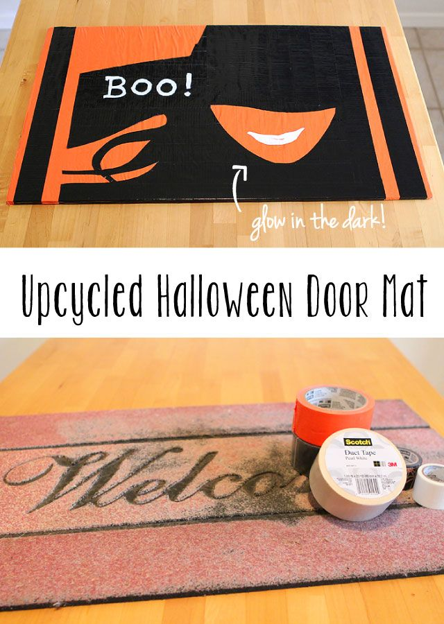 Such a great way to use your grubby old door mat this HalloweenDiy Halloween, Fall Ideas, Diy Duct, Doors Mats, Fun, Old Doors, Halloween Doors, Halloween Diy, Duct Tape Halloween
