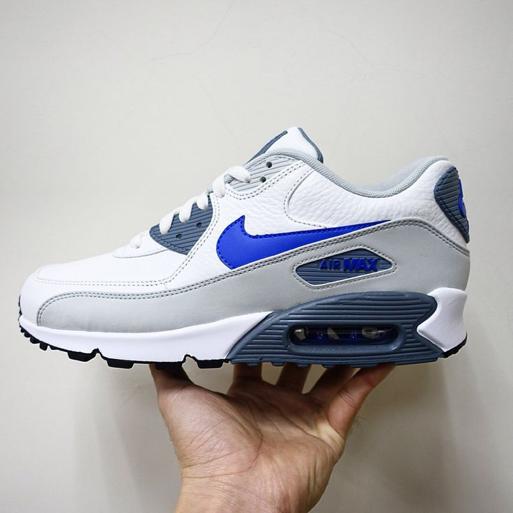 best website 39a61 4079a Nike Air Max 90 LTR Leather White Blue Mens Running Shoes 652980-014
