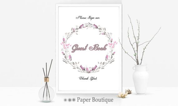 Printable Guest book sign sign our guest book by PaperBoutiqueCA