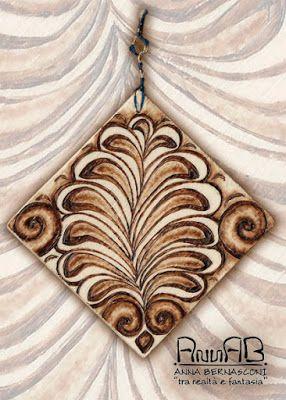 Pirografia su legno / Anna Bernasconi Art / ACANTO ED ALTRE ANTICHE ESSENZE (palmette) / ispirazione storico-artistica-floreale