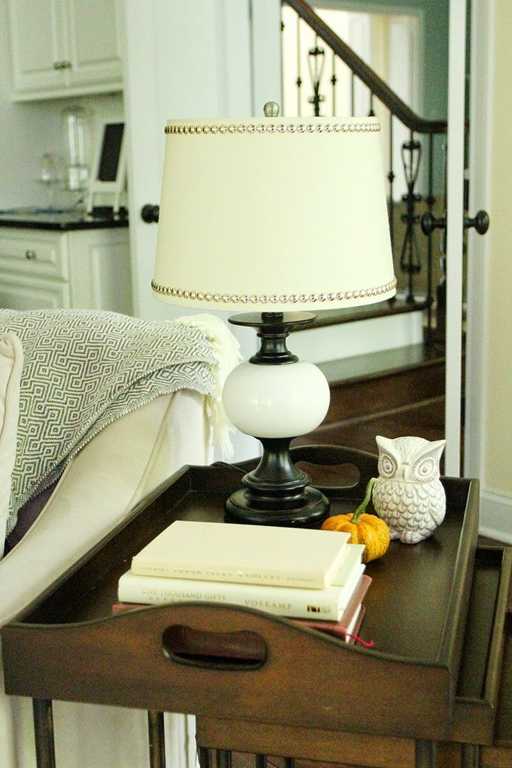 Easy lamp shade makeover with faux nail head trim!