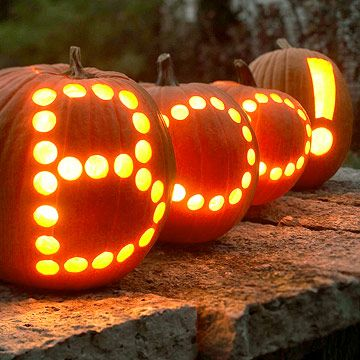 use apple corer to create quick words in pumpkins