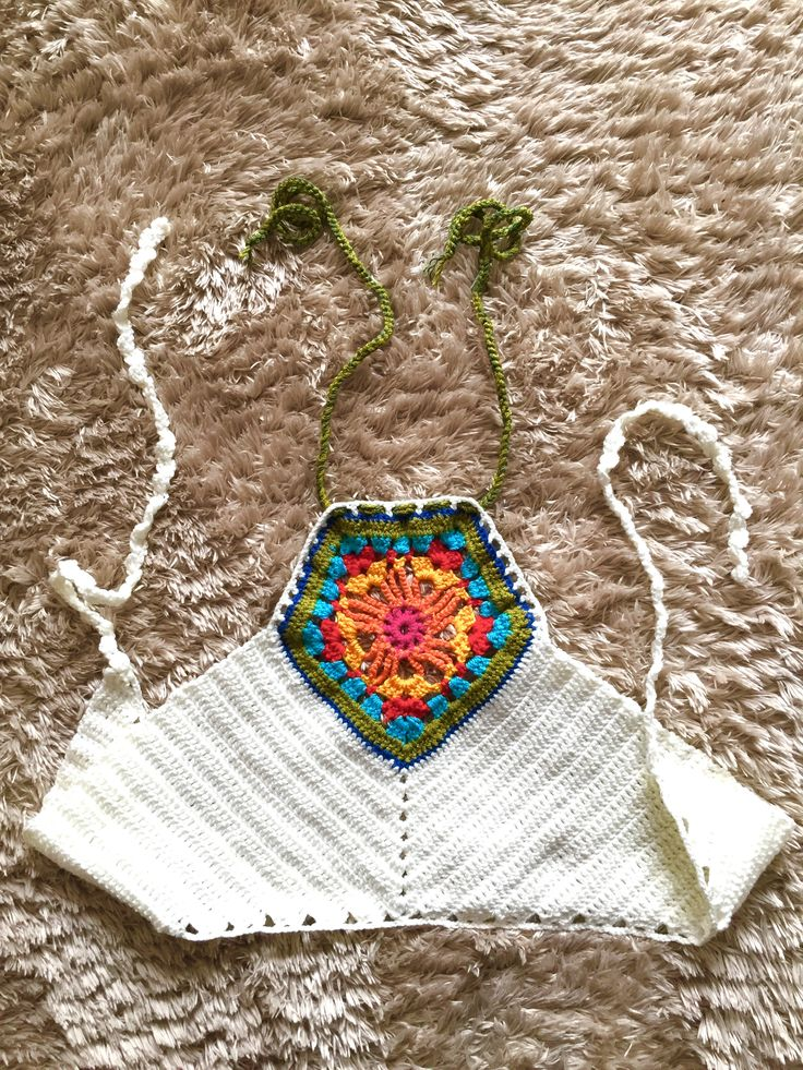 Colorful crochet halter top by Serial-Surgeon