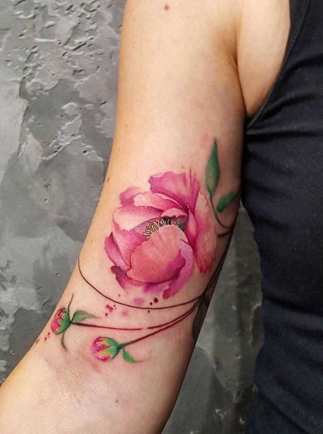 Simona Blanar Watercolor flower tattoo
