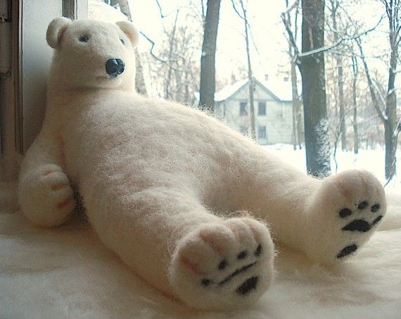 Handmade needle felted wool polar   bear  white gift by BinneBear