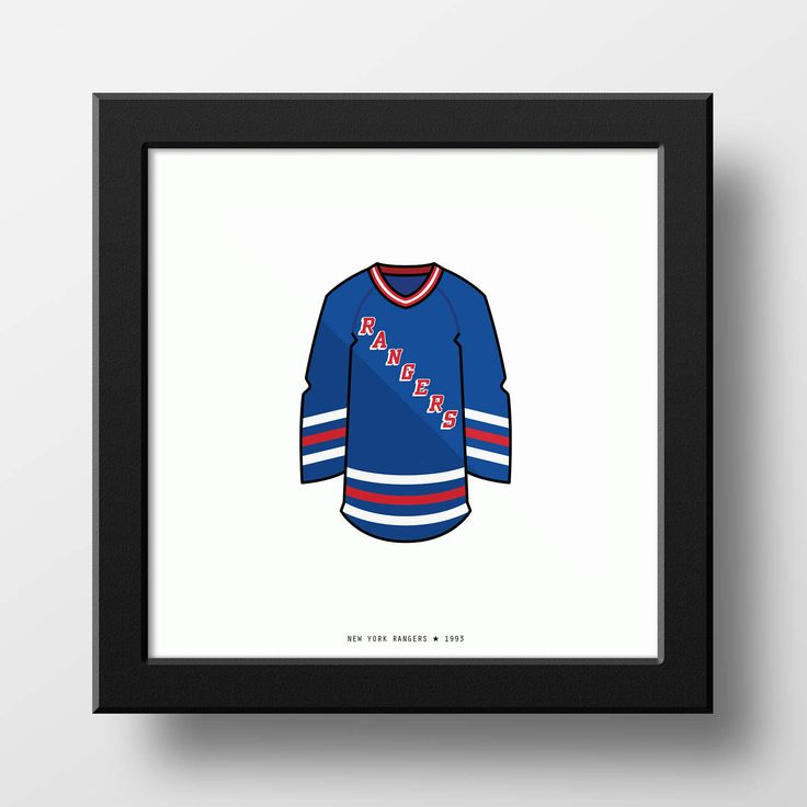 New York Rangers 1993-1994 Jersey Illustration Classic Vintage by PianoMugshot on Etsy