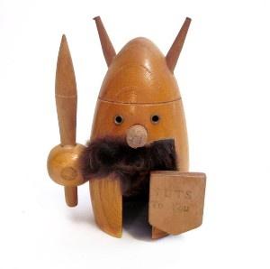 Nutcracker: Vintage Wood Viking with Mustache