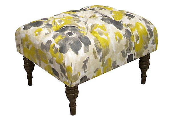 Leigh Tufted Ottoman, Yellow/Gray on OneKingsLane.com