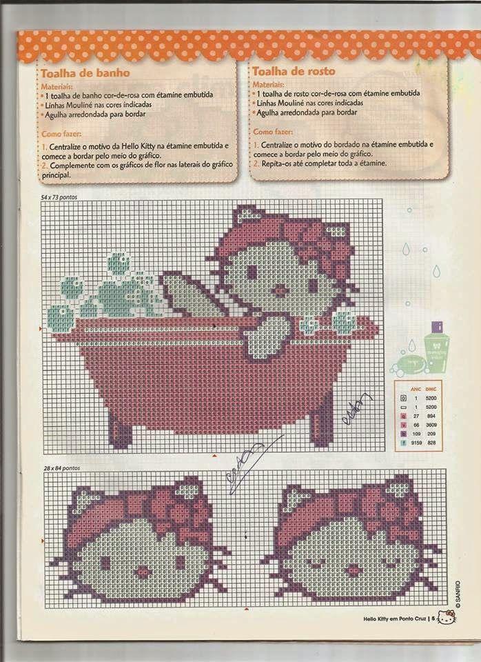Ângela Bordados: Boa tarde...vamos de Hello Kitty....Toalhas de banho bem simpáticas para alegrar o banho das princesas..