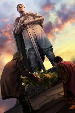 Maron Martell and King Daeron II at the statue of Baelor the Blessed by Magali Villeneuve.