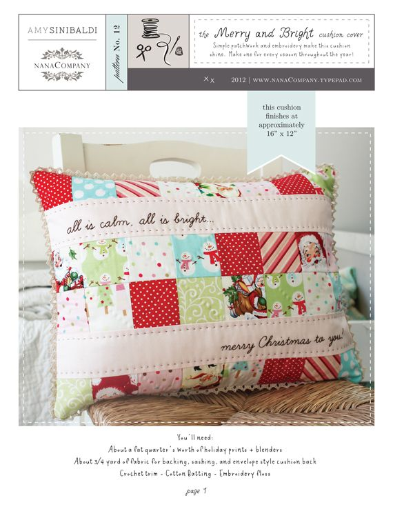 merry and bright cushion cover | free PDF pattern