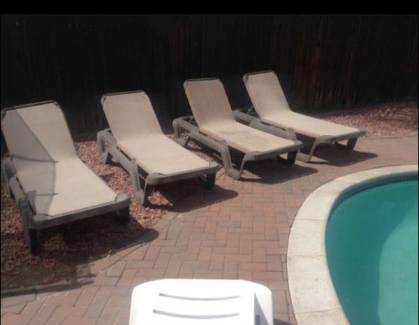 Pool loungers recliners chairs mesh brown swimming for Sale ...