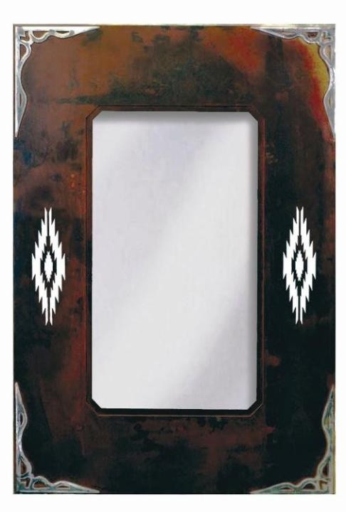 Navajo Diamond & Burnished Corners Southwestern Wall Mirror Lovers of the Southwestern motif will enjoy this ...