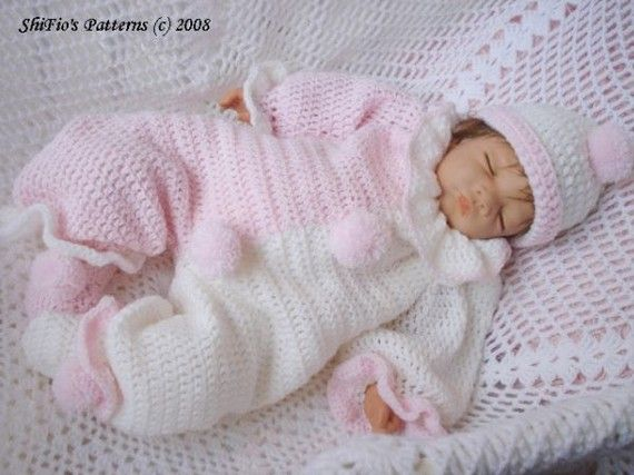 CROCHET PATTERN For Baby Clown Suit Hat and Slippers PDF by shifio