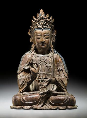 A large gilt lacquered bronze figure of a Bodhisattva Ming dynasty