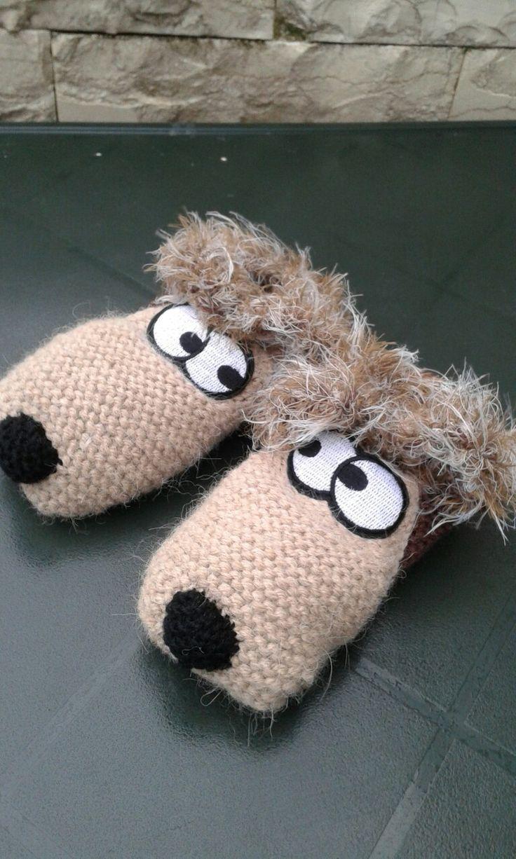 Тапочки собачки. Dog knitted socks