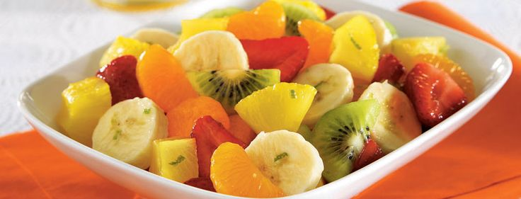HONEY LIME FRUIT TOSS  Honey, lime, bananas, kiwi, mandarin oranges and strawberries... this salad is a tropical delight