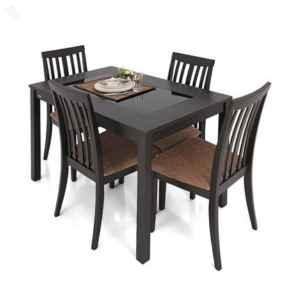 Buy Zuari Dining Table Set 4 Seater Wenge Finish Piru Online India Zansaar Furniture Store