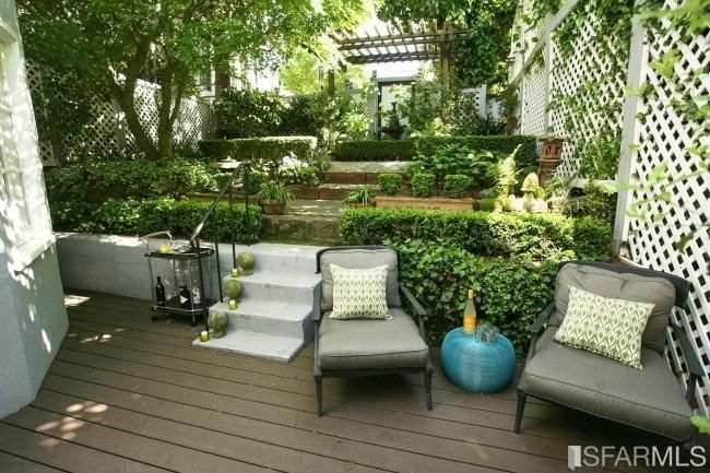 Traditional Landscape/Yard with Kennedy Serving Cart, Beechwood Indoor/Outdoor Throw Pillow, Terraced garden, Woven Pouf