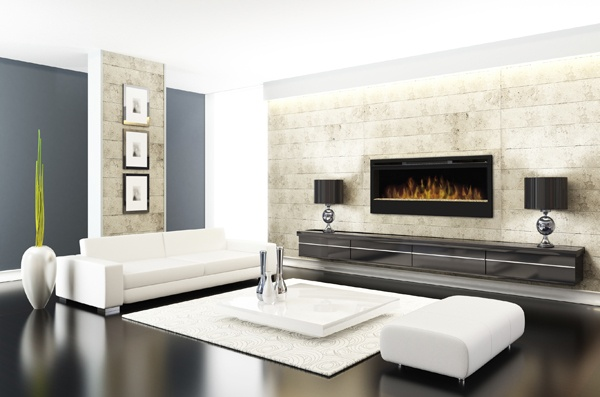 White living room with fireplace