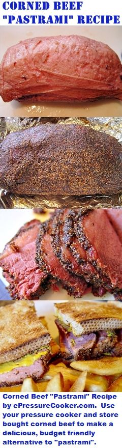 """Pressure Cooker Recipes:  Pressure Cooker Corned Beef """"Pastrami"""" Recipe by ePressureCooker.com.  Try pressure cooking a store bought corned beef to make this delicious, budget friendly """"pastrami"""" alternative I call Fauxstrami.  Makes great sandwiches for Father's Day (especially when paired with my pressure cooker """"french fries"""")."""