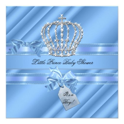 Elegant Baby Shower Boy Blue Little Prince Crown Personalized Invites