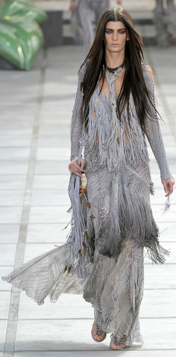 Tackle spring fashion trends handily with this ikat print maxi length - Roberto Cavalli Spring Summer 2011 Ready To Wear