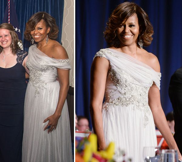 Vestido de festa como inspiração para mãe de noiva | Michelle Obama veste Marchesa