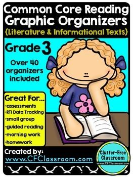 3rd Grade Common Core Graphic Organizers Reading: Literature & Informational Text - Your 3rd grade students will love this 40+ page product full of graphic organizers that can be used with ANY TEXT! Each organizer has the CCSS and the expectation for each goal.  Each page is NO PREP and easy to use. You will be able to use it again and again! These are perfect for assessments, RTI data tracking, small groups, guided reading, morning work, AND homework. Click through to learn even more! $…