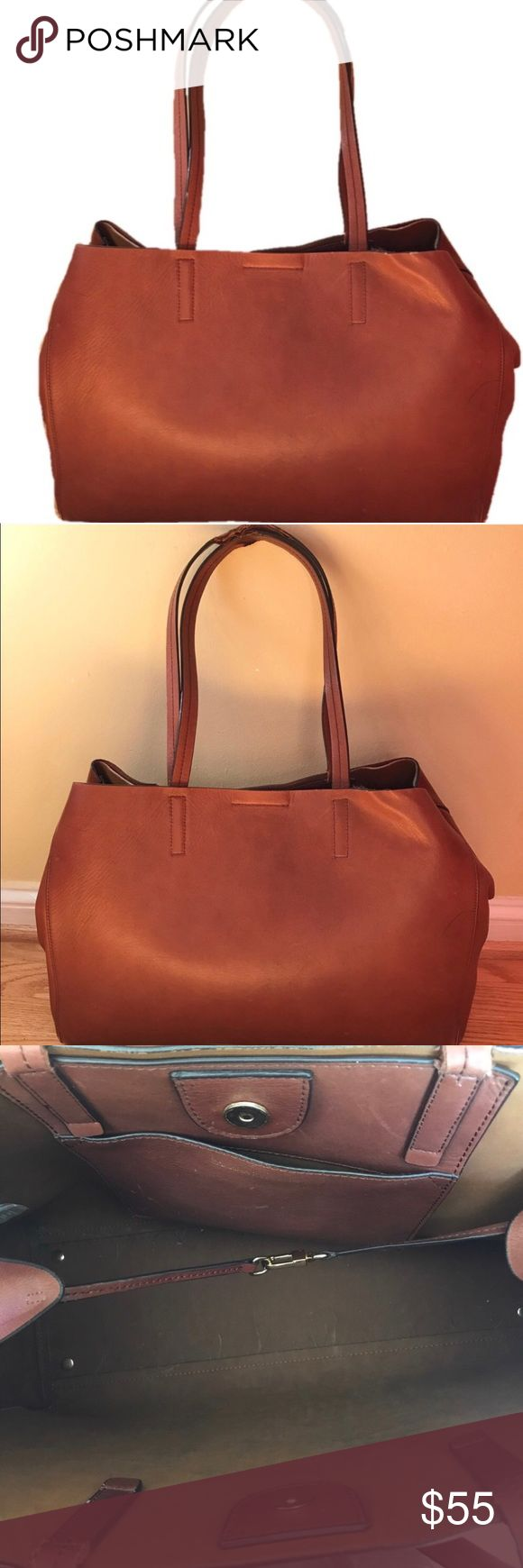 Banana Republic Leather Tote Genuine leather gorgeous tote with minor defects. Please see photos for measurements and minor defects. Can be used as a tote for work or school. Reposh. Banana Republic Bags Totes