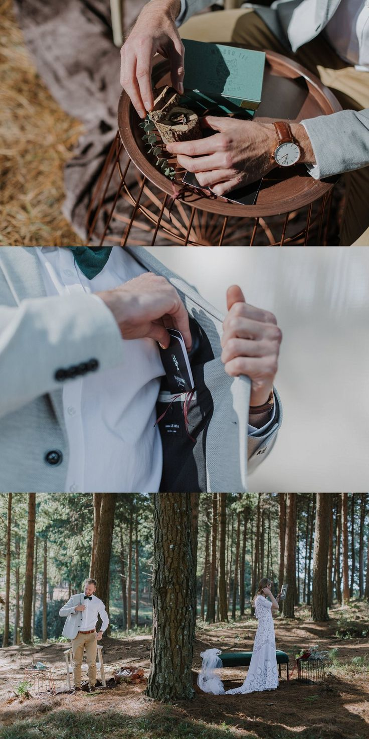 Wild horses & Waterfall elopement. Open air dressing room in the forest. Wood stump ring box & little bow books