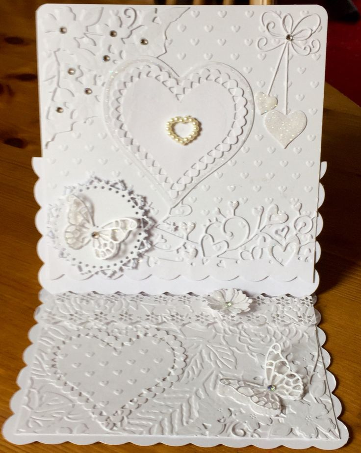 White on White Anniversary card using Diecuts and gems