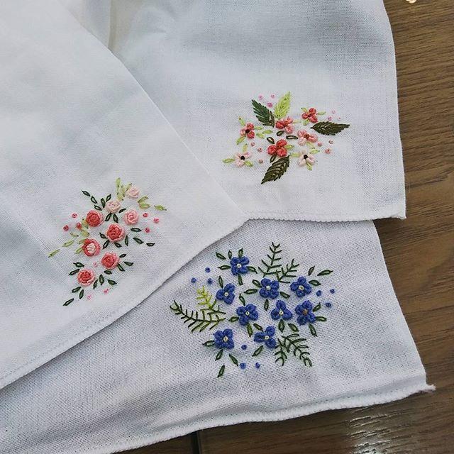 #Embroidery#stitch#needlework#handkerchief#dishchoth #프랑스자수#일산프랑스자수#자수#거즈면손수건~