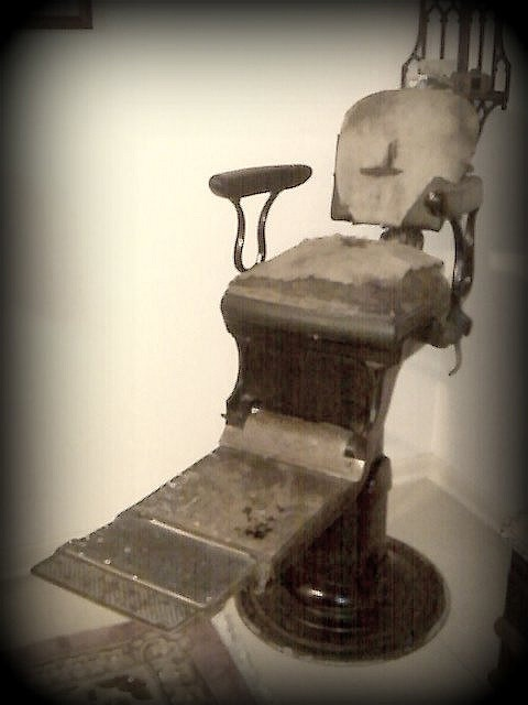 This is an antique chair I bought at a garage sale. It is either a barber  or dentist chair. It has no manufacturer stamp on it, only a number. To m… - This Is An Antique Chair I Bought At A Garage Sale. It Is Either A