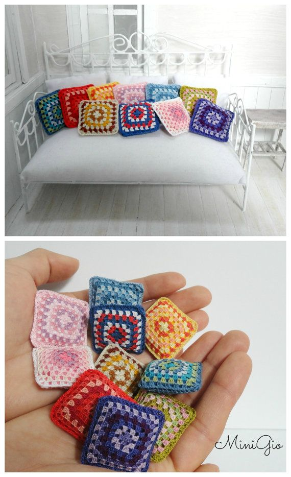 Miniature crochet pillow for dollhouse miniature granny by MiniGio