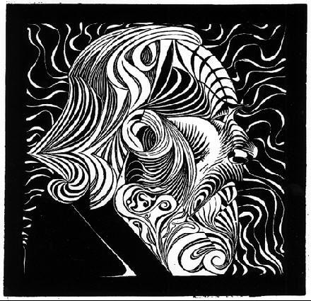 Portrait of a Man 1920 woodcut - M. C. Escher