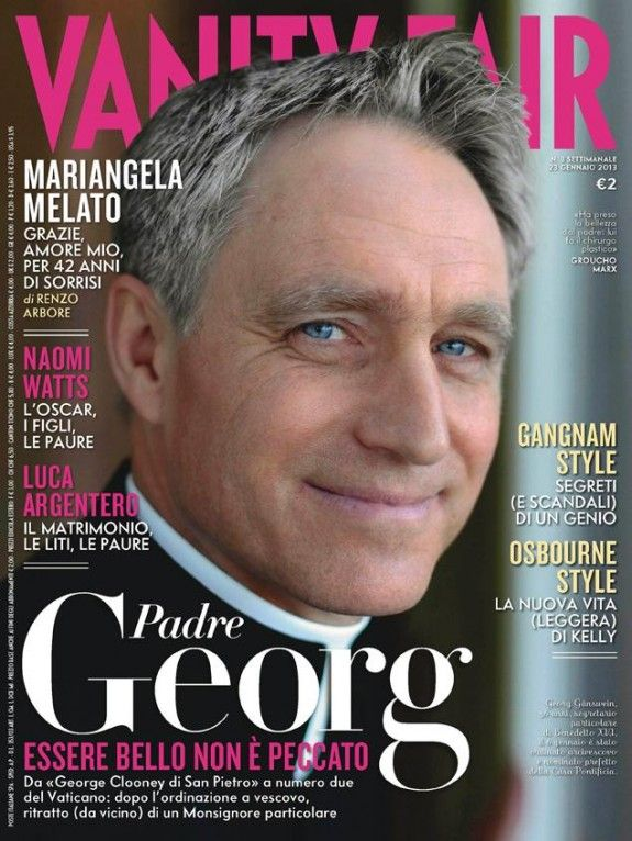 """""""It's not a sin to be beautiful"""" That's evidently the translation of the headline above, trumpeting Vanity Fair's story on the pope's private secretary.Archbishop Georg Ganswein, who has been dubbed """"Gorgeous George"""" by the Italian media, is now a real-life cover boy.The cover on the Italian edition of the magazine shows the 56-year-old archbishop smiling, his blue eyes beaming, above a headline that reads """"Father Georg – It's not a sin to be beautiful."""""""