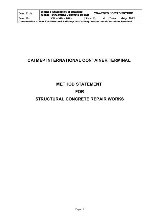 Doc Title Method Statement of Building Works u2013Structural Concrete - method of statement