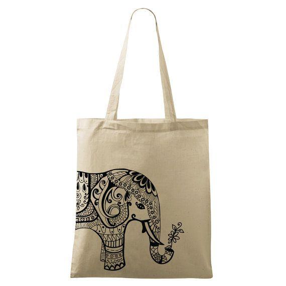 Elephant bag Yoga bag Eco-friendly printed Black by DrasiShop