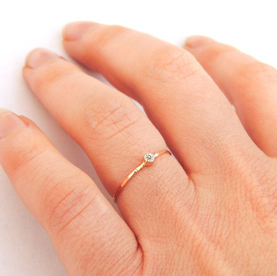 Diamond Ring Tiny Engagement Delicate Minimalist Dainty Stacker
