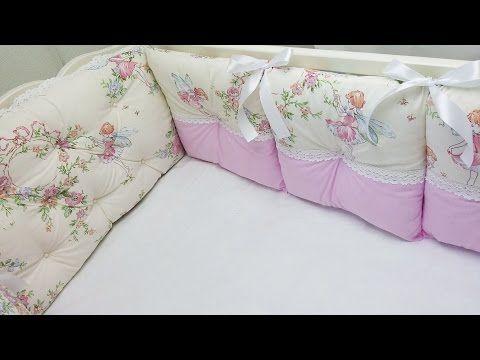 Бортики подушки в кроватку с кружевом и бусинками. МК - YouTube