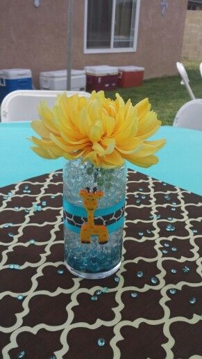 Here's a better picture of the giraffe 1st Communion centerpiece. Would also work for a baby shower