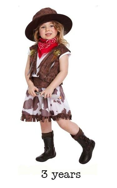 Child Wild West Cowgirl Fancy Dress Costume - Toddler