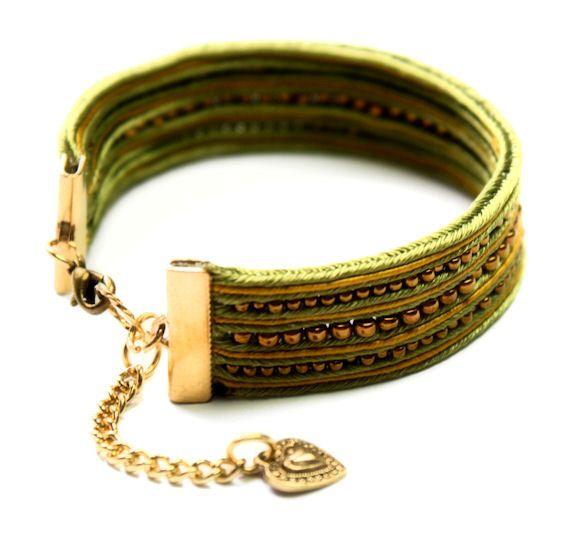 lemon lime  soutache bracelet  free shipping by KimimilaArt