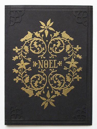 ヒートエンボスとドライエンボスでゴールドxブラックの大人系クリスマスカード : from MB in SD