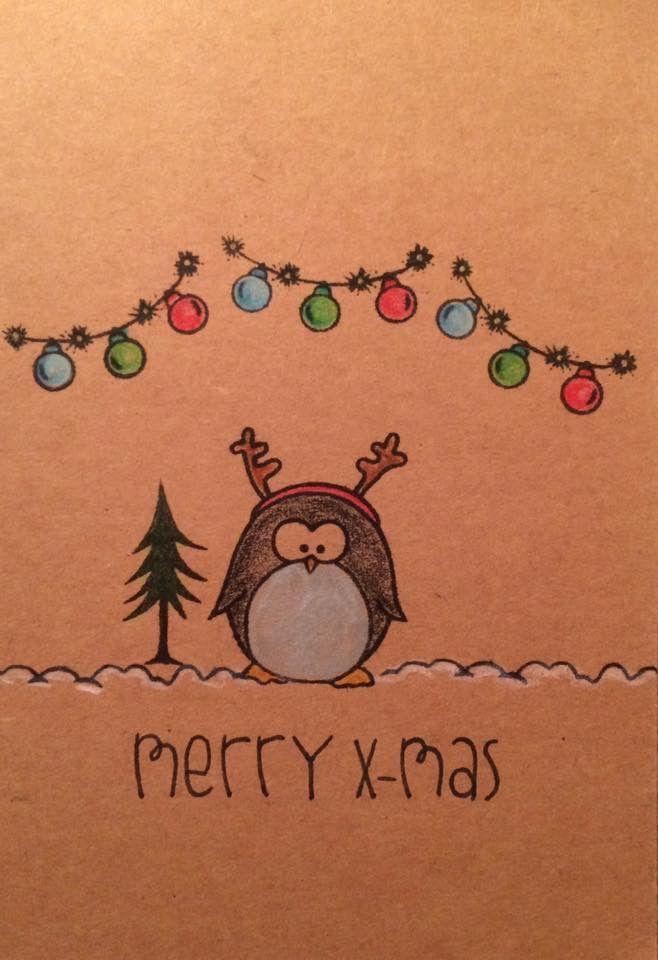 Kaarten - kerst - pinguïn