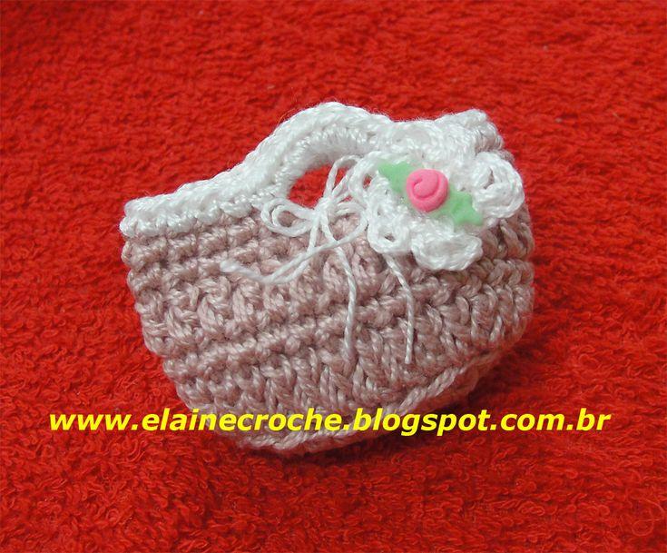 Elaine Croche: Vídeo Aula Crochê - Mini Bolsa para Lembrancinha de Maternidade, Chá de Panela ou Boneca Barbie